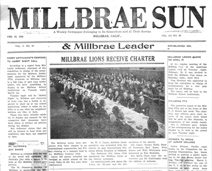 Click to see the Millbrae Lions Club Charter Night featured in the February 25, 1938 edition of the